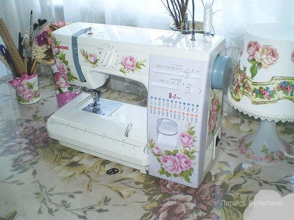 Декупаж швейной машинки салфетками своими руками