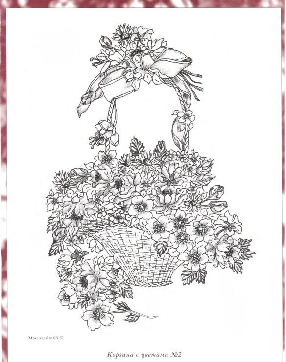 Корзина с цветами поэтапно