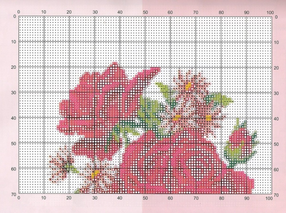 Вышивка схема розы в корзине 32