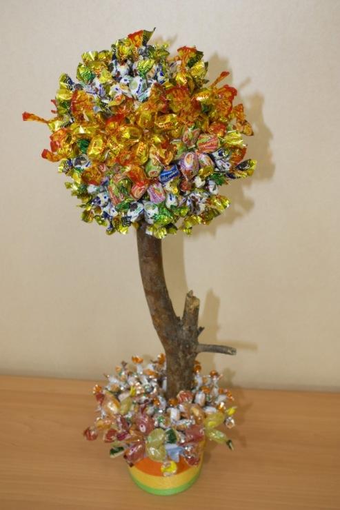 Дерево из конфет своими руками пошаговое фото мастер класс