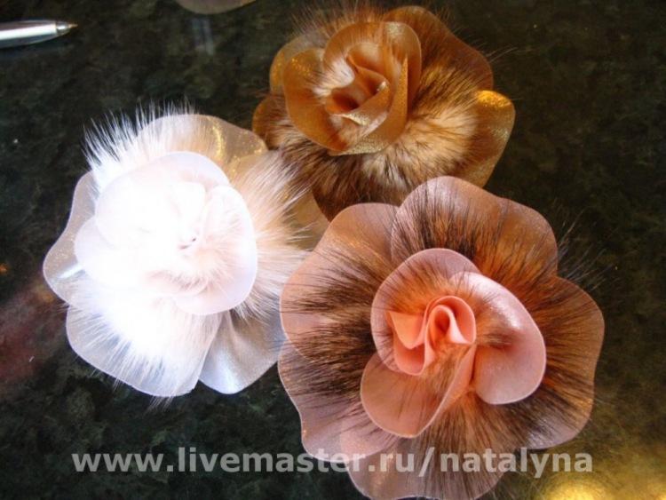 Цветы из меха и кожи мастер класс