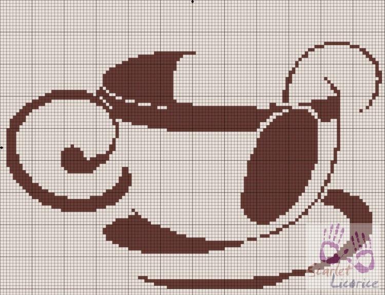 Схемы для вышивки монохром : чашки.