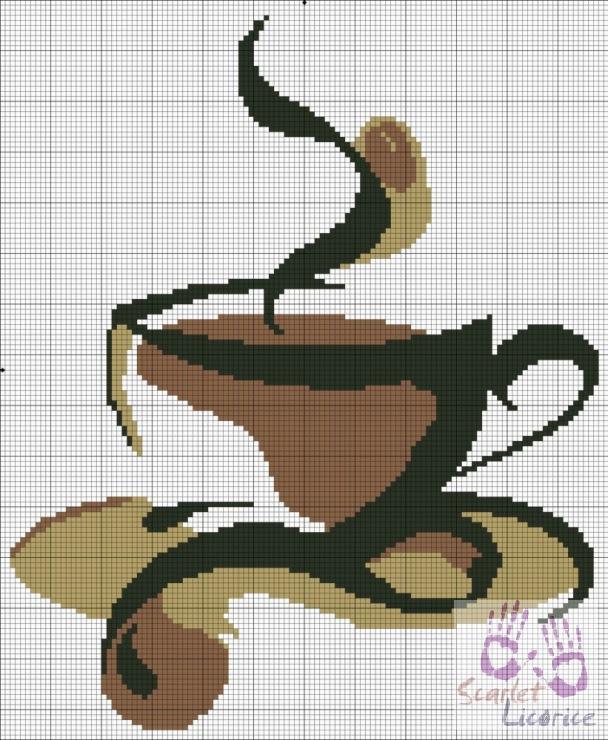 Схемы монохром. Чашка кофе.