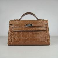 Реплика Гермес Мини Келли Pouchette 22см 022 крокодиловый коричневый...