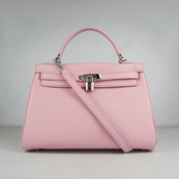 Реплика сумки Hermes Kelly 032 розовый (серебро)