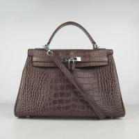 Гермес Келли 32см Темный Кофе Крокодил вены кожаная сумка 6108 S.