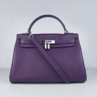 Реплика сумки Hermes Kelly 032 фиолетовый (серебро)