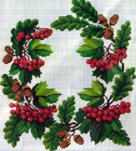 """Схема вышивки  """"Рябина под снегом """" - Схемы автора  """"poltanya """" - Вышивка крестом."""