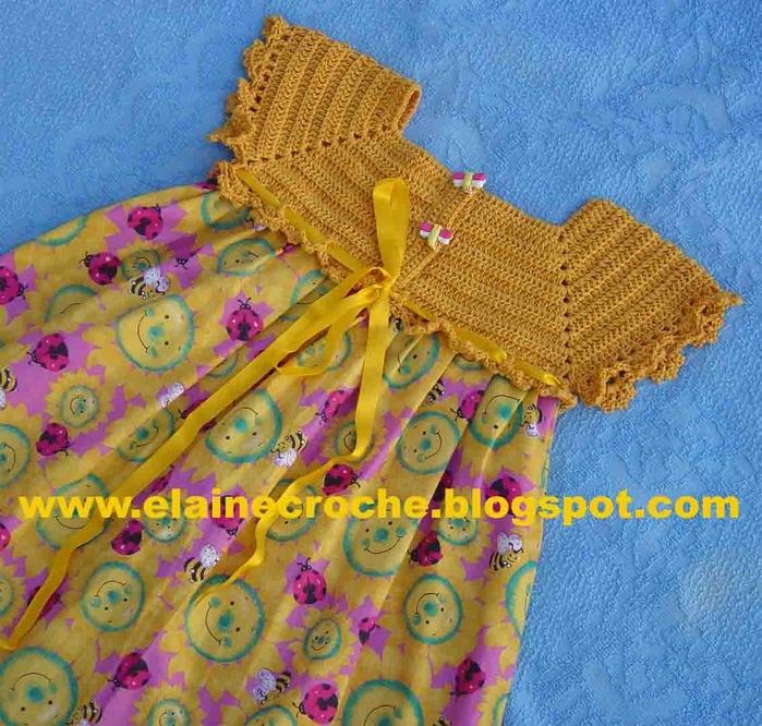 Комбинированные платья вязание крючком и ткань для девочек 6