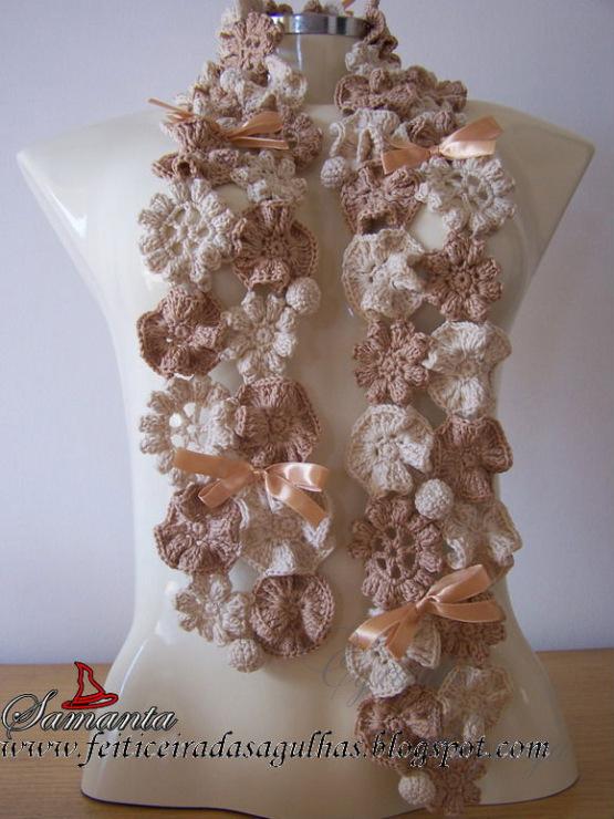 аксессуары вязаные крючком схемы модные шарфики на шею.
