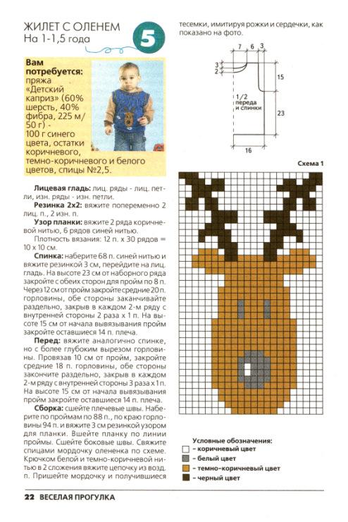 Схема оленя на детский свитер