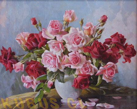 """Схема вышивки  """"Розы """": таблица цветов."""