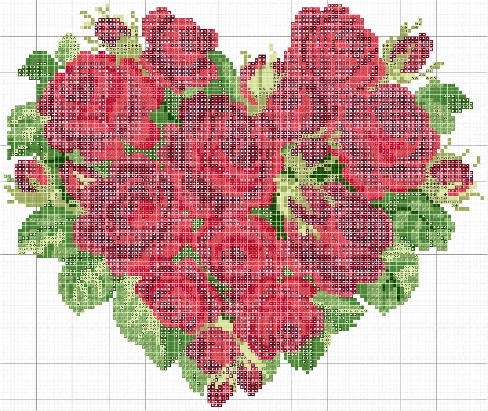 Вышивка крестом сердце из роз схемы 76