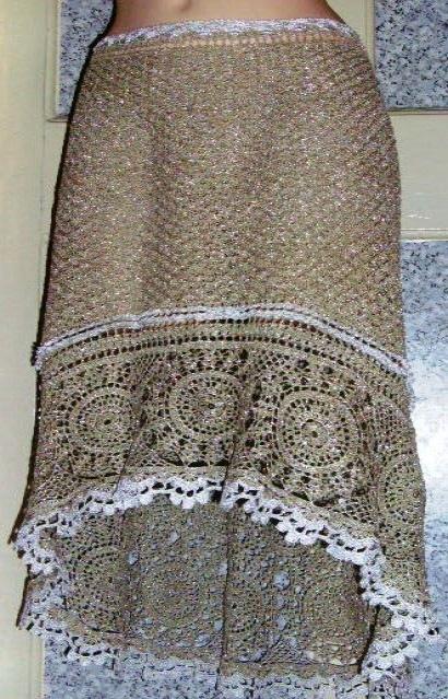 Вязаная бело-голубая юбка с. Вязаная крючком юбка с воланами для девочки