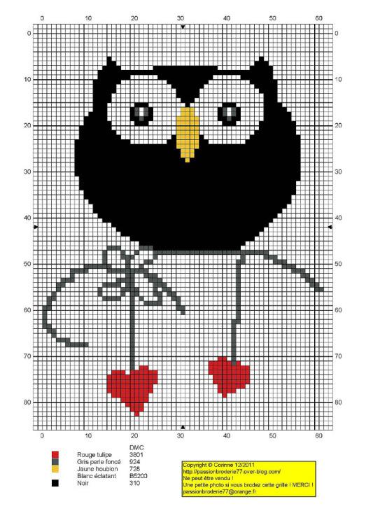 Вышивка крестиком сова маленькая 8269