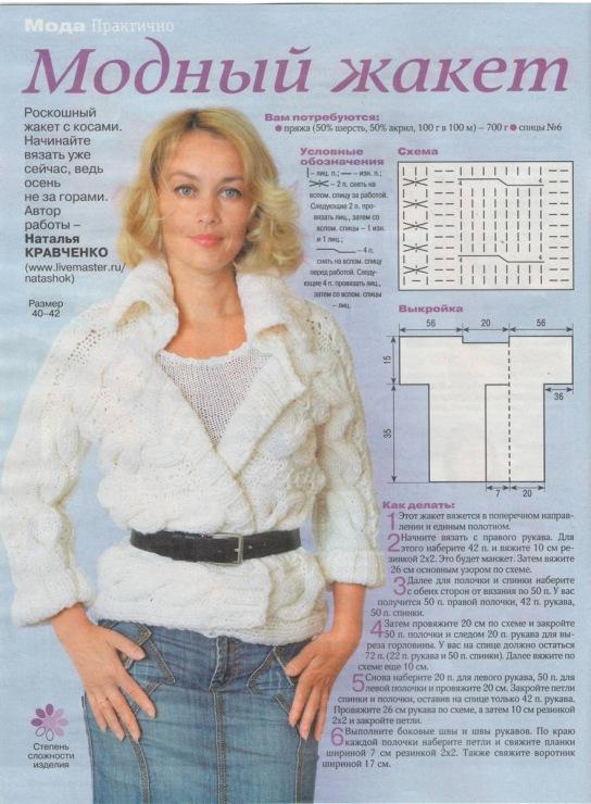 Модные схемы вязания жакетов спицами для женщин