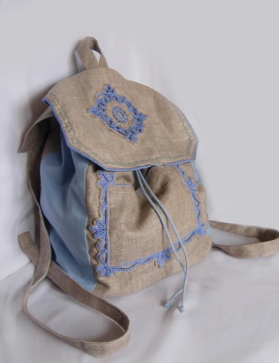 Ярмарка Мастеров - ручная работа Льняной рюкзак.  Handmade.