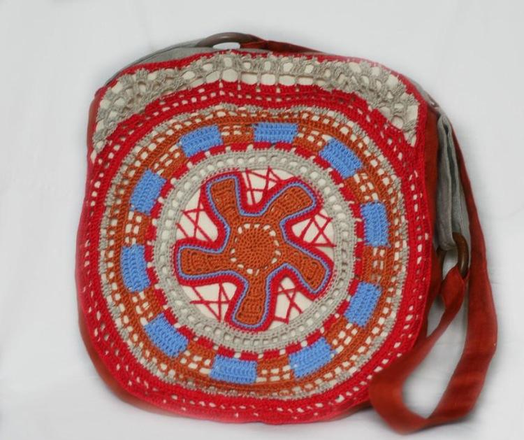 """К лету очень просто и нарядно.  Юбка - ткань+филеечка.  (Много лекал сумок в рубрике  """"Вязаные сумки """") ."""