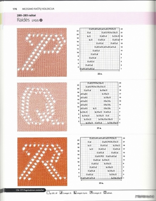 Вязание букв на спицах 205